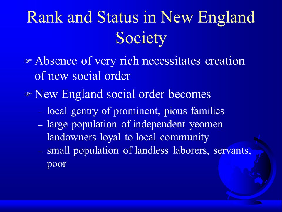 Rank and Status in New England Society