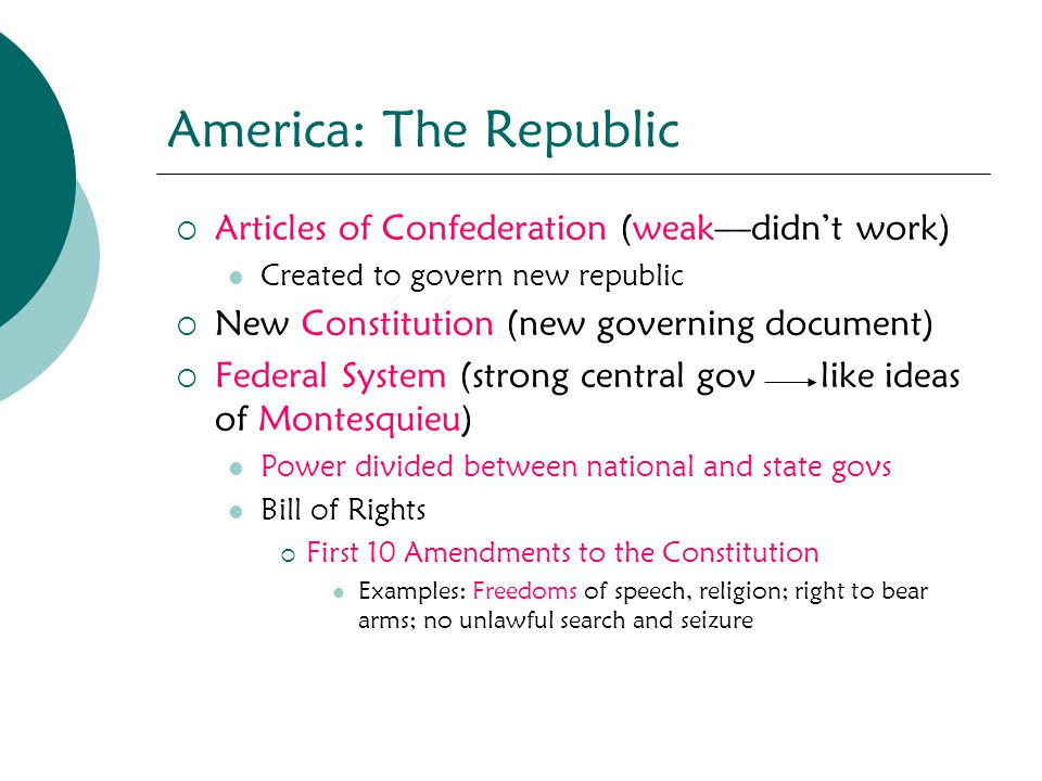 America: The Republic Articles of Confederation (weak—didn't work)