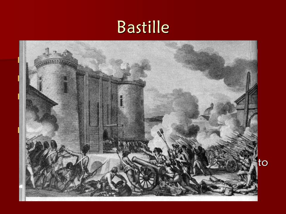 Bastille Mob storms Bastille (= French PRISON)