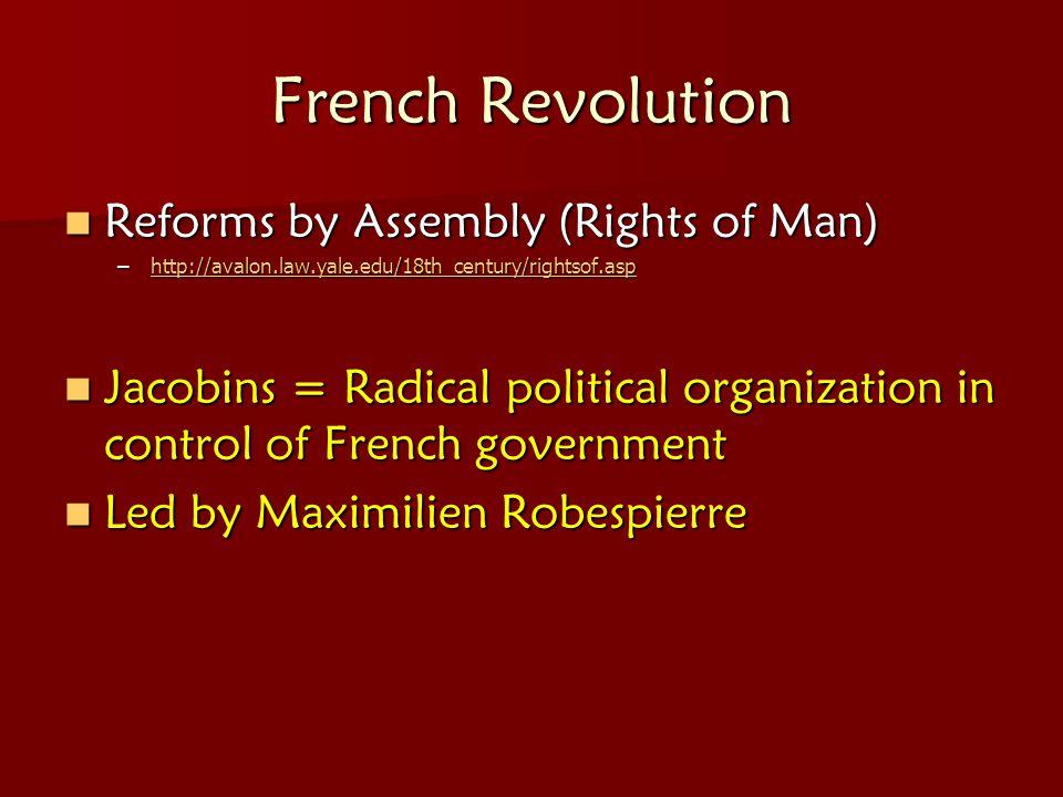 French Revolution Reforms by Assembly (Rights of Man)