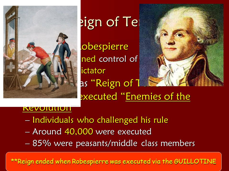 **Reign ended when Robespierre was executed via the GUILLOTINE
