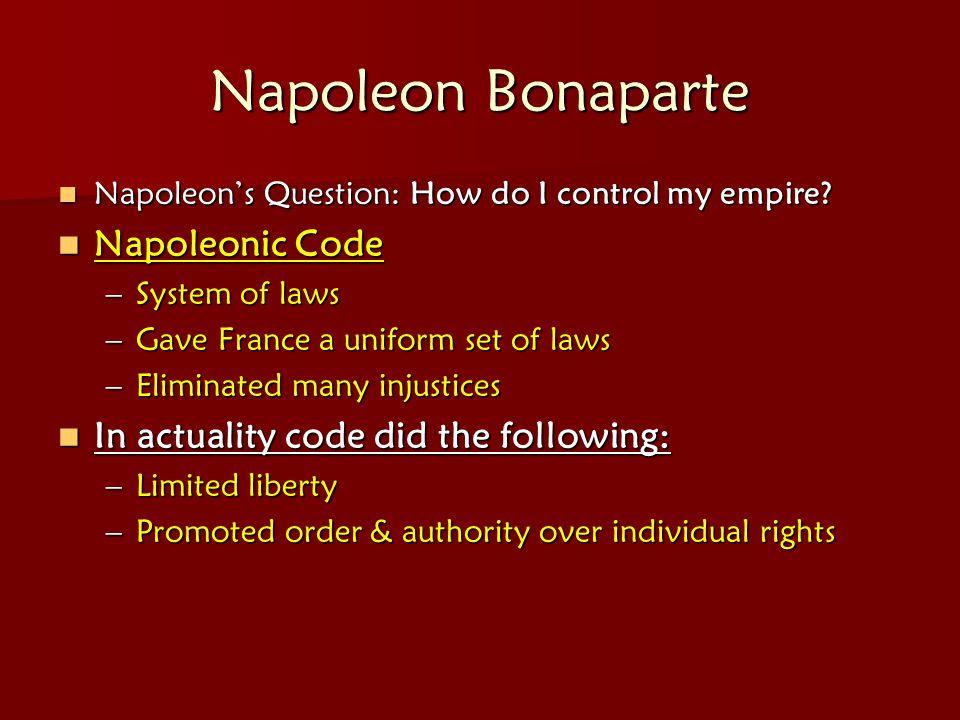 Napoleon Bonaparte Napoleonic Code