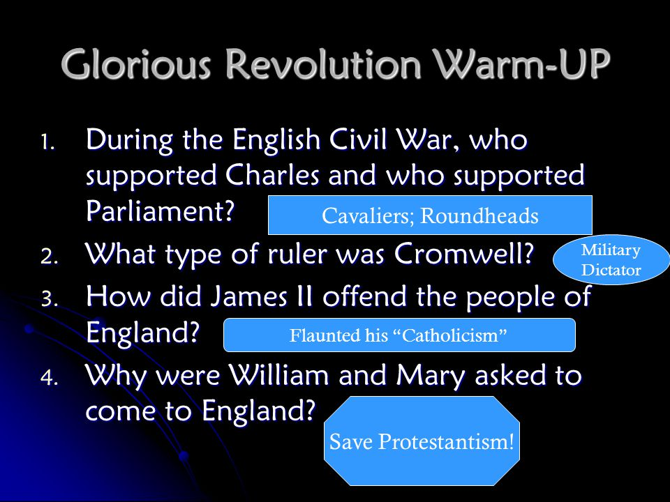 Glorious Revolution Warm-UP