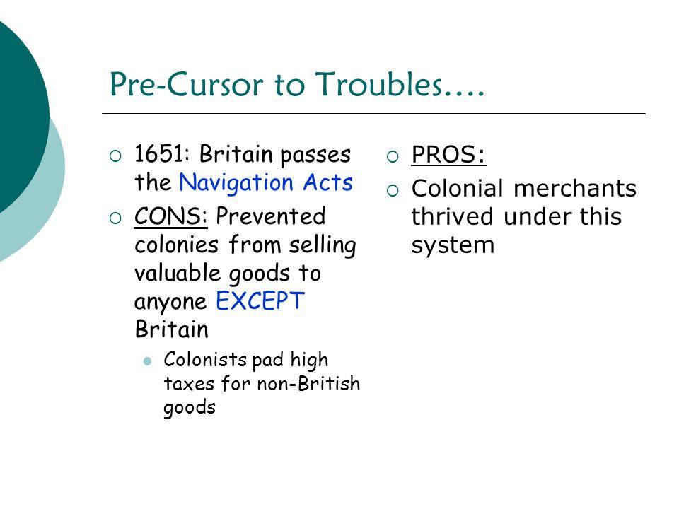 Pre-Cursor to Troubles….
