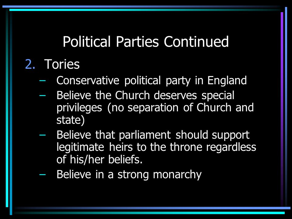 Political Parties Continued