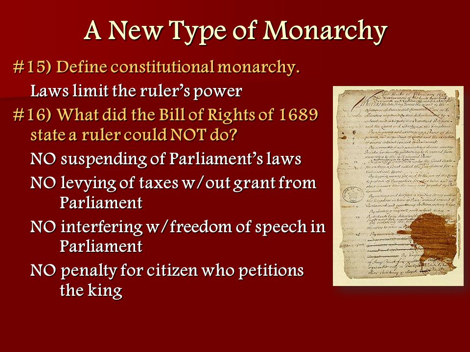 A New Type of Monarchy #15) Define constitutional monarchy.