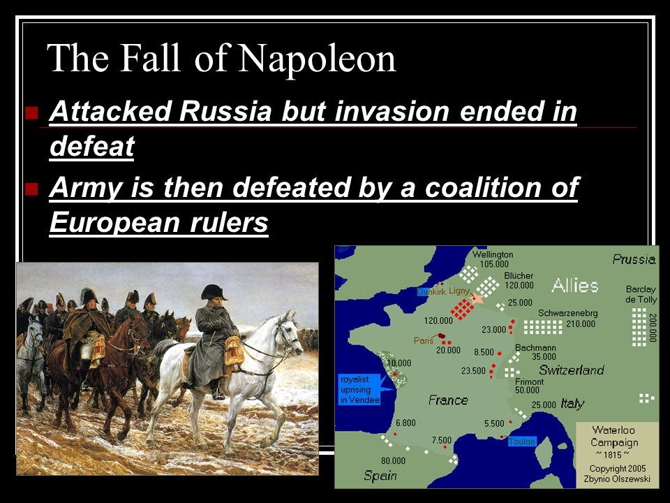 The Fall of Napoleon Attacked Russia but invasion ended in defeat
