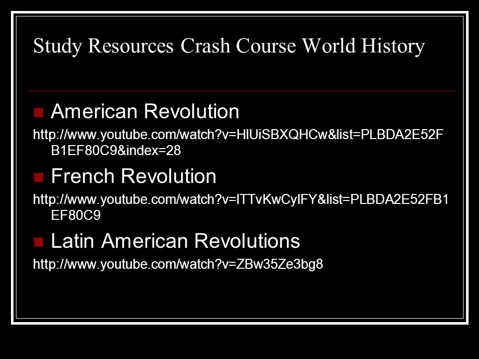 Study Resources Crash Course World History