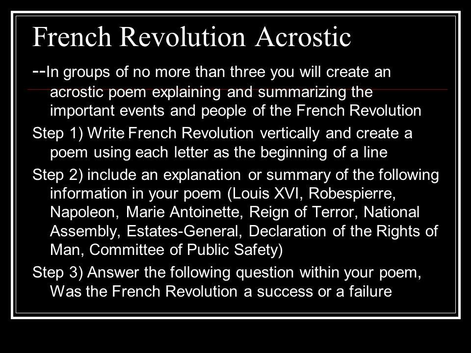 French Revolution Acrostic