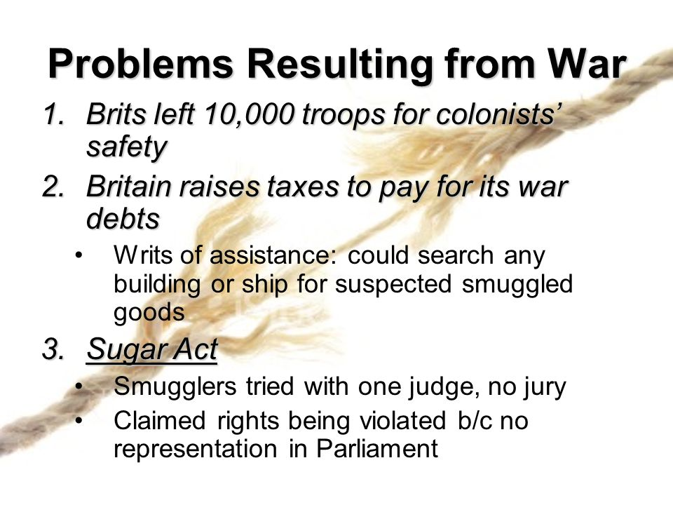Problems Resulting from War