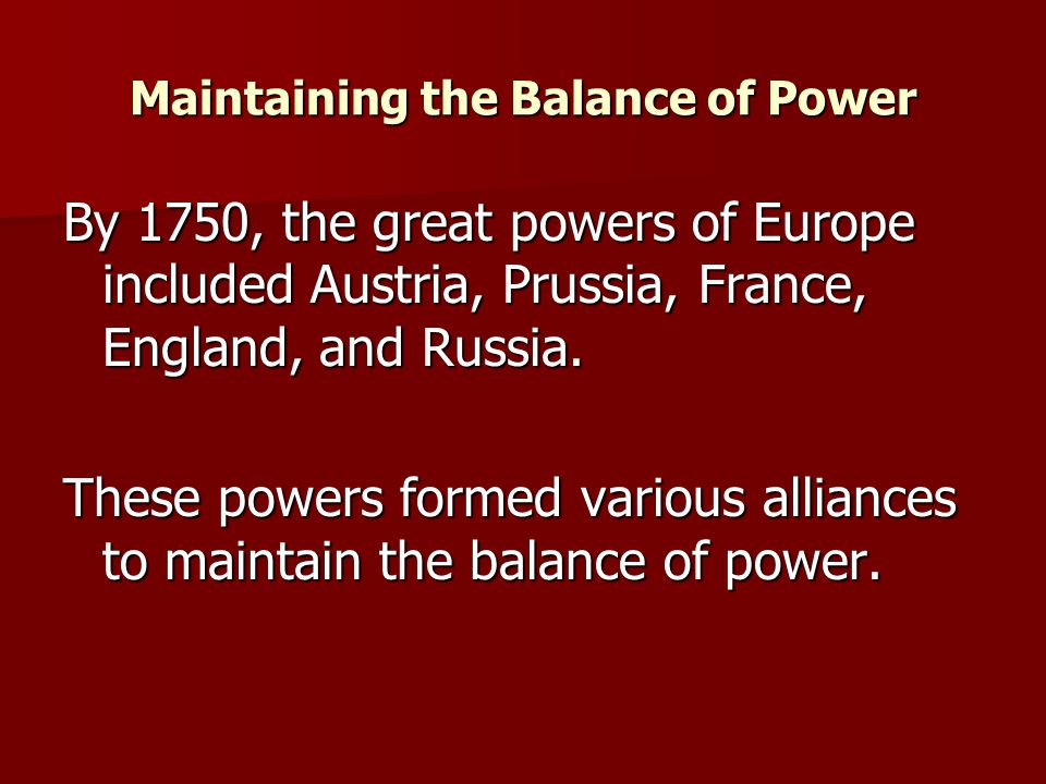 Maintaining the Balance of Power