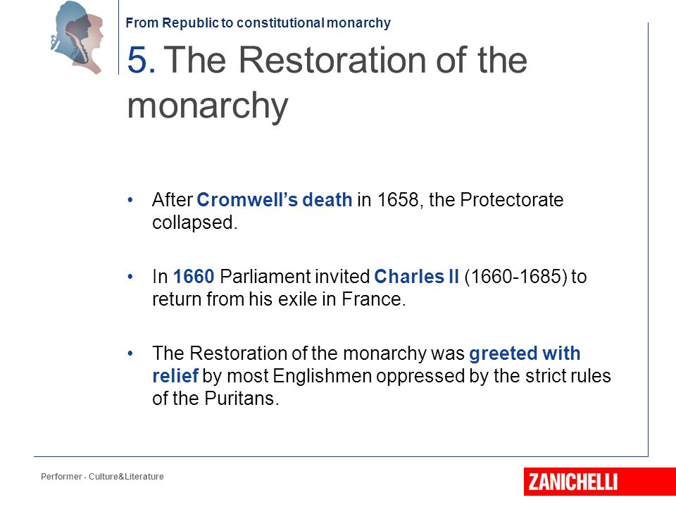 5. The Restoration of the monarchy