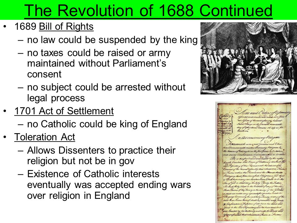 The Revolution of 1688 Continued