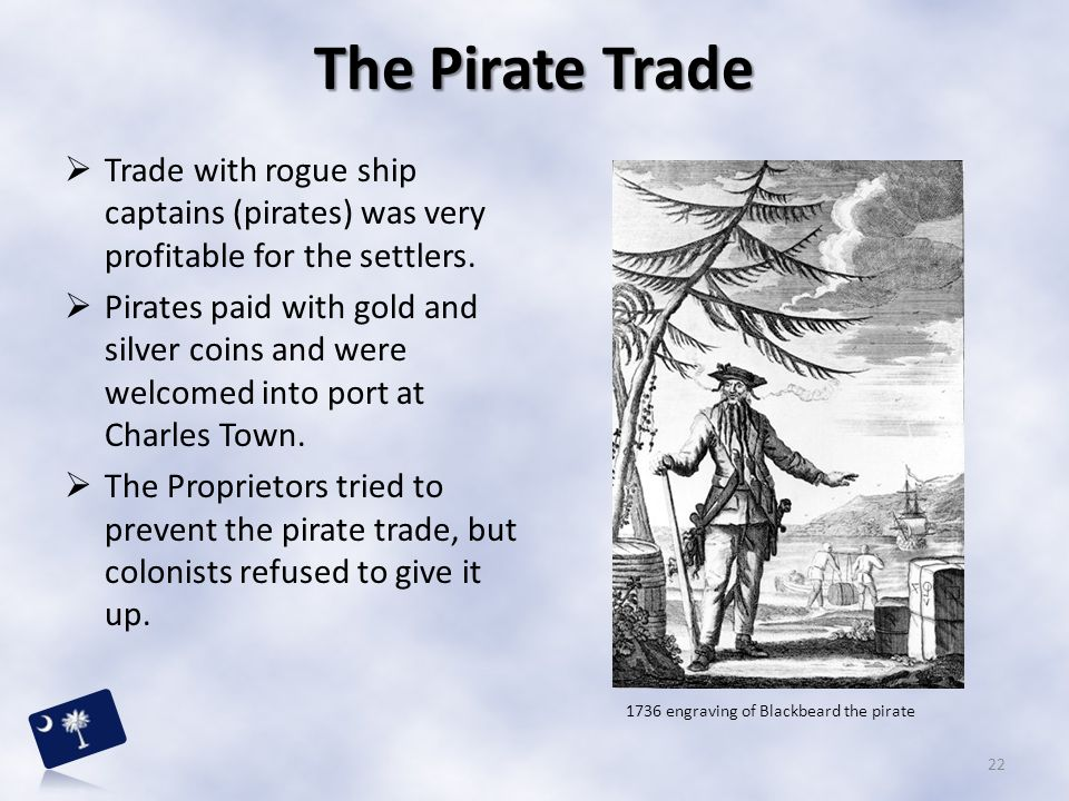 The Pirate Trade Trade with rogue ship captains (pirates) was very profitable for the settlers.