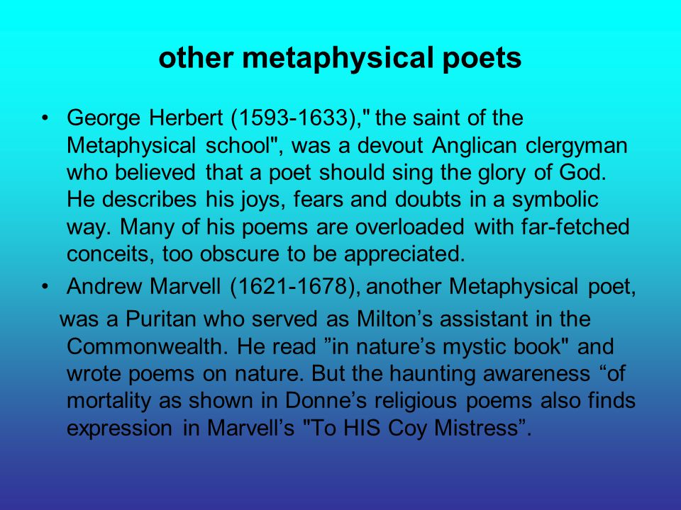 other metaphysical poets