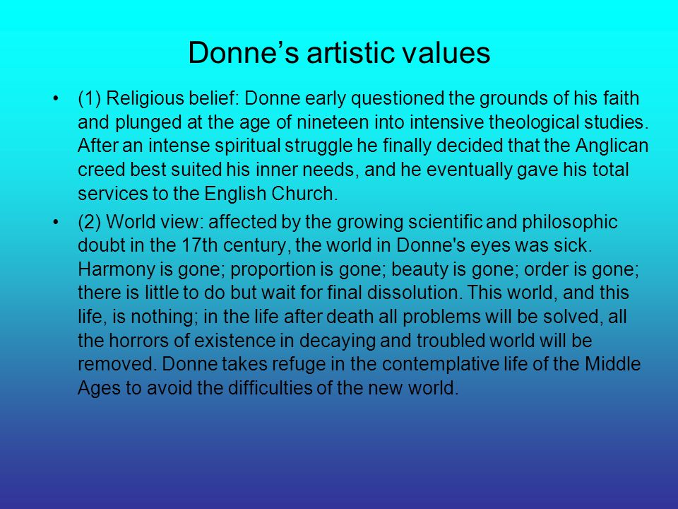 Donne's artistic values