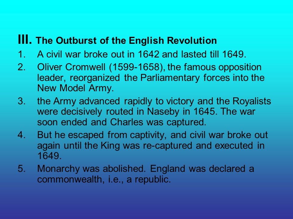III. The Outburst of the English Revolution