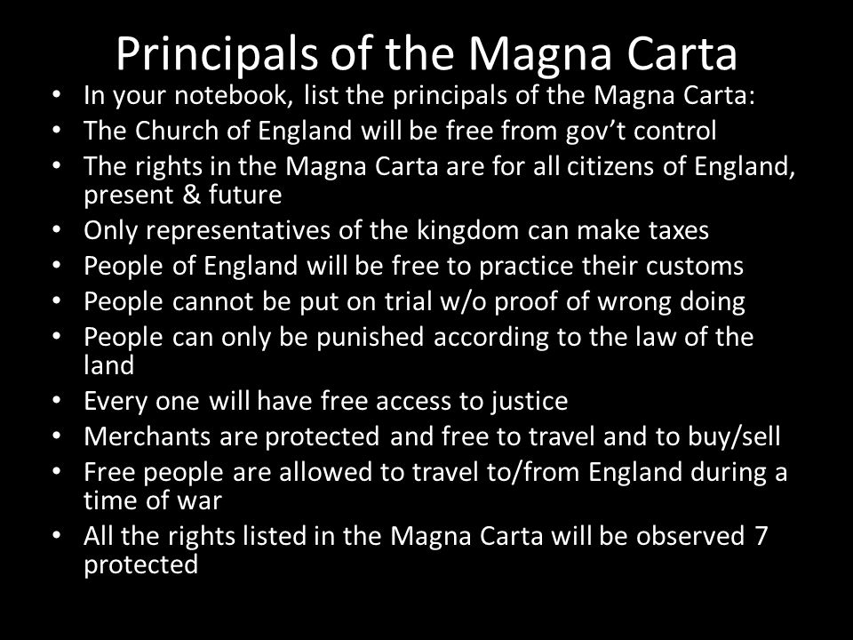 Principals of the Magna Carta