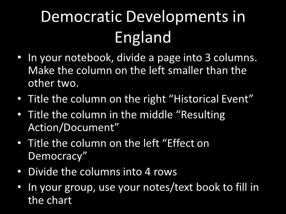 Democratic Developments in England