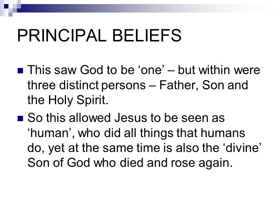 PRINCIPAL BELIEFS This saw God to be 'one' – but within were three distinct persons – Father, Son and the Holy Spirit.
