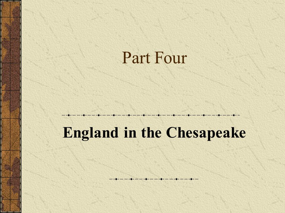 England in the Chesapeake