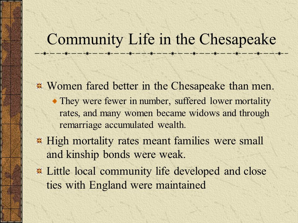 Community Life in the Chesapeake