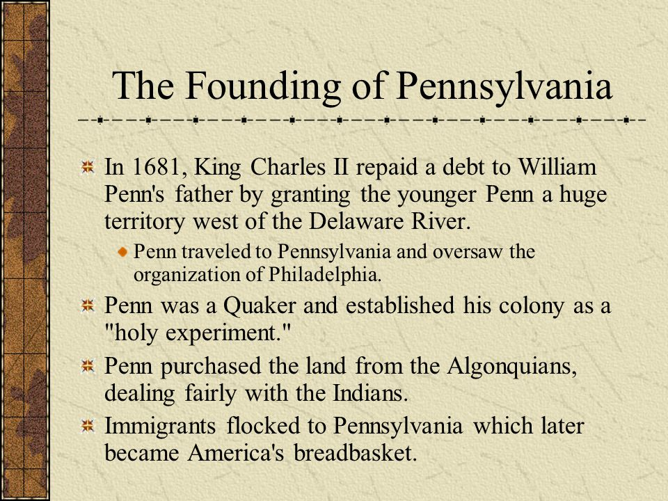 The Founding of Pennsylvania