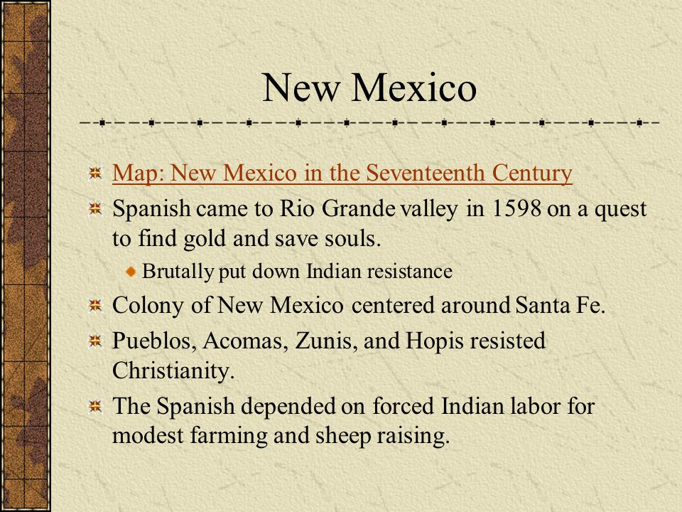 New Mexico Map: New Mexico in the Seventeenth Century