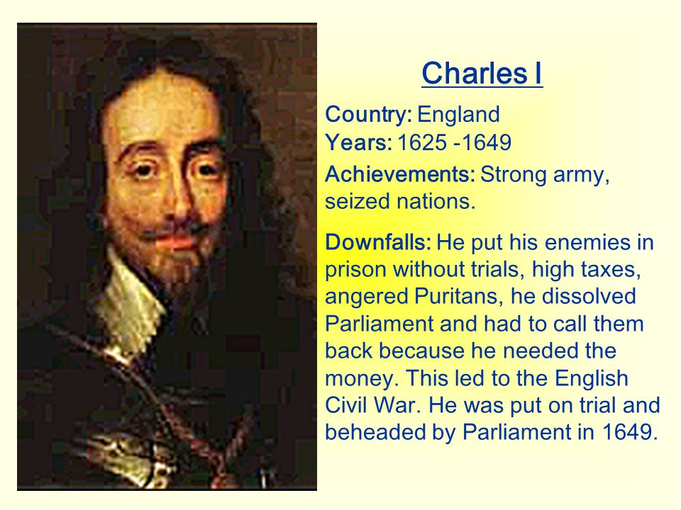 Charles I Country: England Years: 1625 -1649