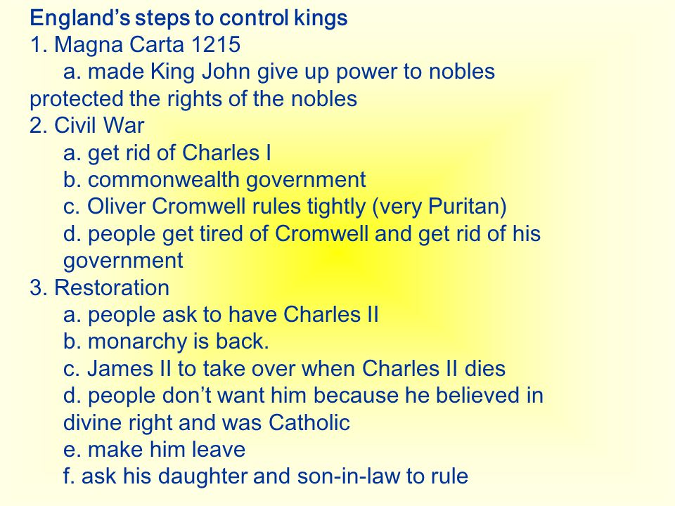 England's steps to control kings