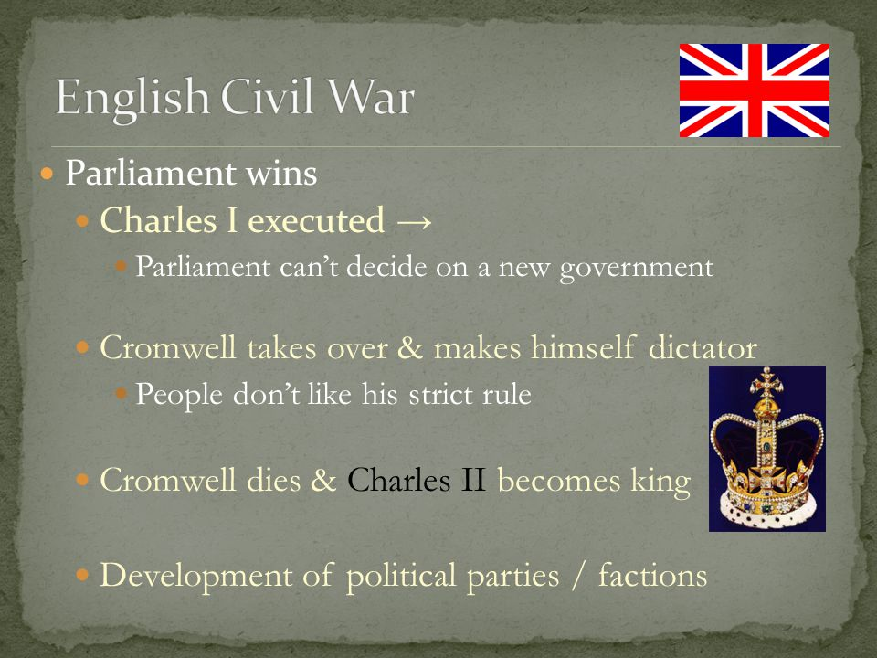 English Civil War Parliament wins Charles I executed →