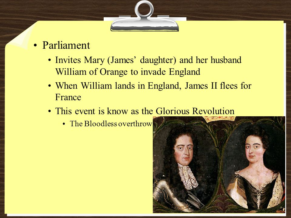 Parliament Invites Mary (James' daughter) and her husband William of Orange to invade England.