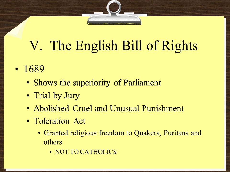 V. The English Bill of Rights