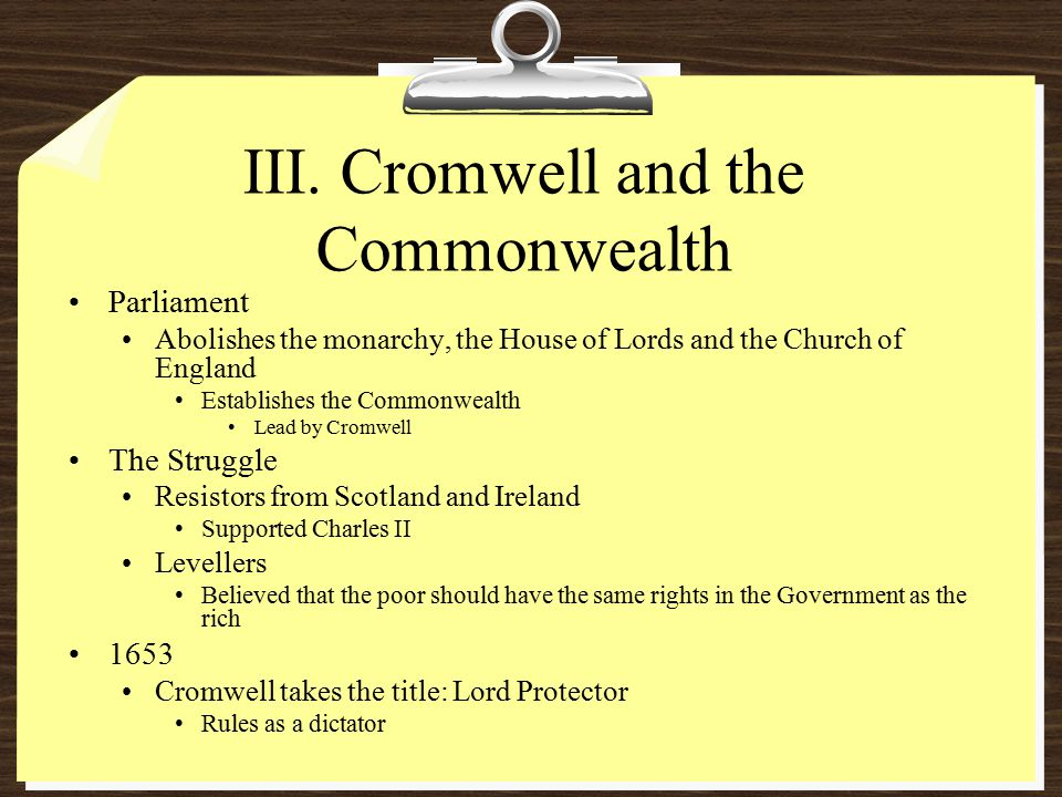 III. Cromwell and the Commonwealth