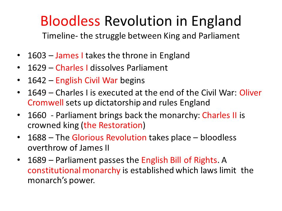 Bloodless Revolution in England Timeline- the struggle between King and Parliament