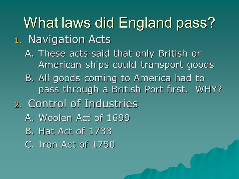 What laws did England pass
