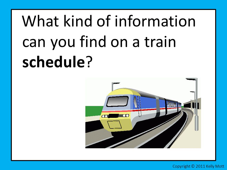 What kind of information can you find on a train schedule