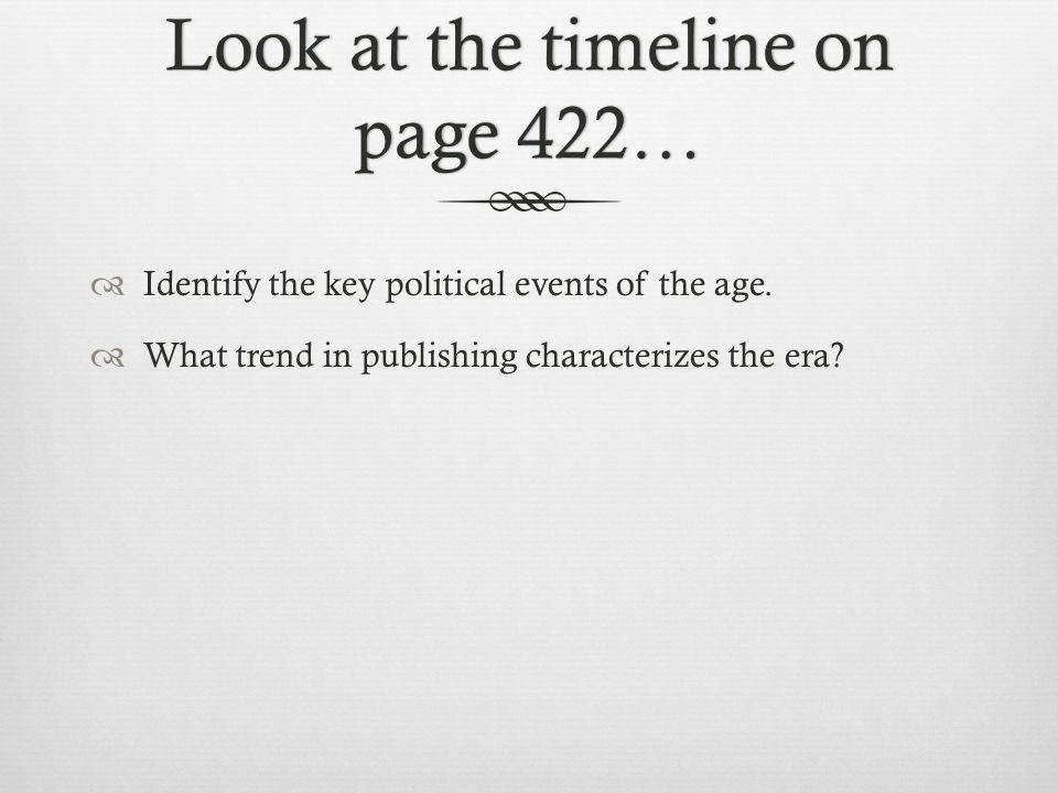 Look at the timeline on page 422…