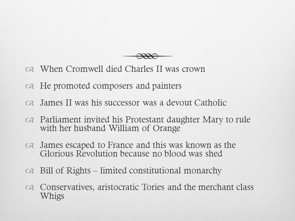 When Cromwell died Charles II was crown