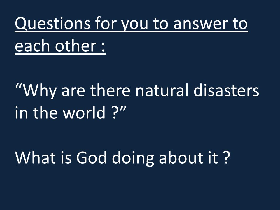 Questions for you to answer to each other :