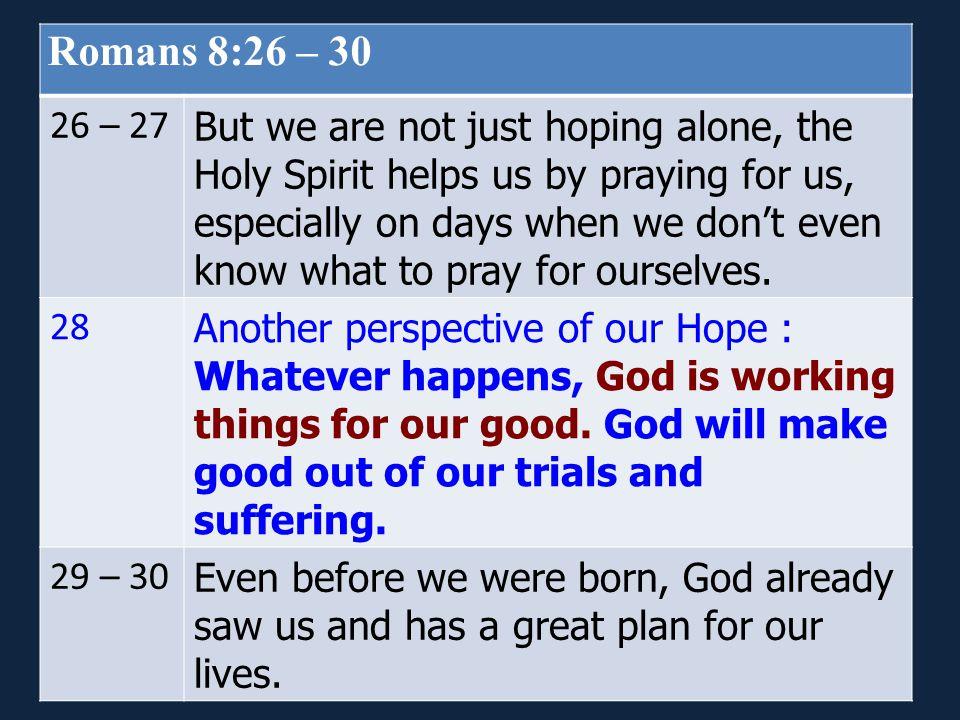 Romans 8:26 – 30 26 – 27.