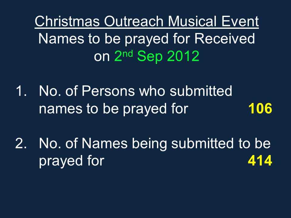 Christmas Outreach Musical Event Names to be prayed for Received
