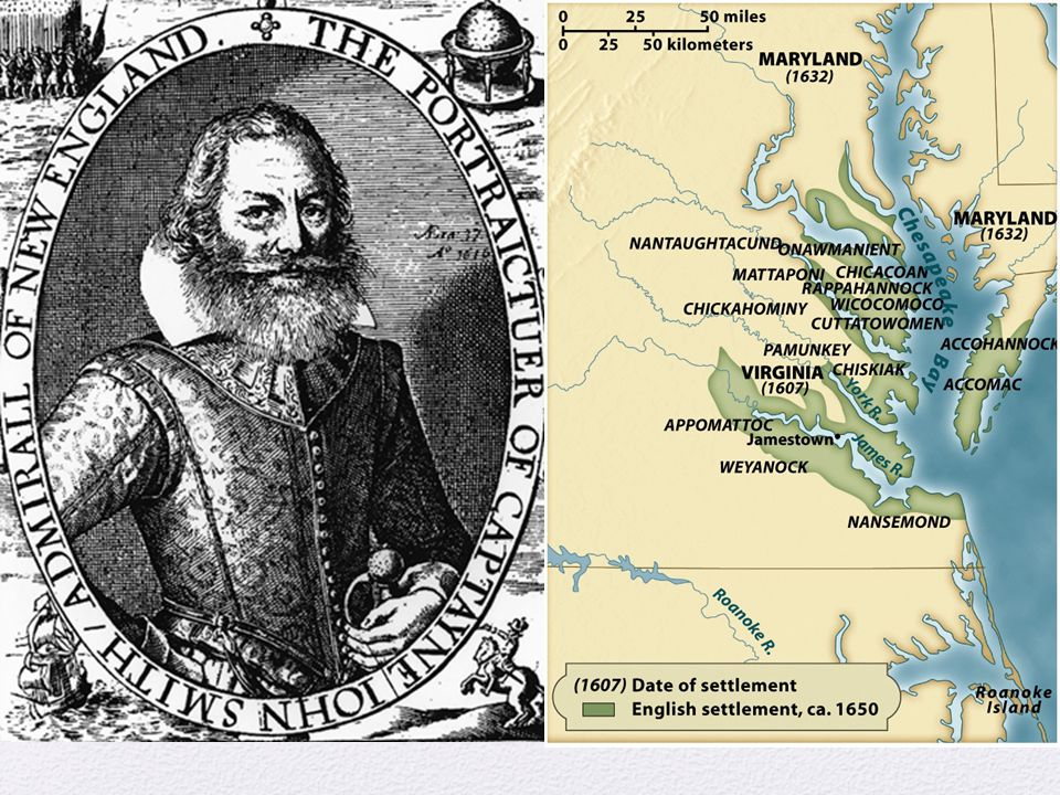 Ch. 2, Image 9 A portrait of John Smith, the leader of the early Virginia colony, engraved on a 1624 map of New England.