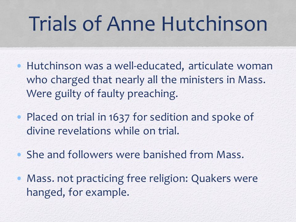 Trials of Anne Hutchinson