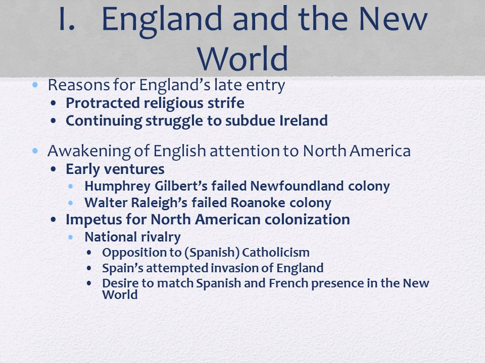 I. England and the New World