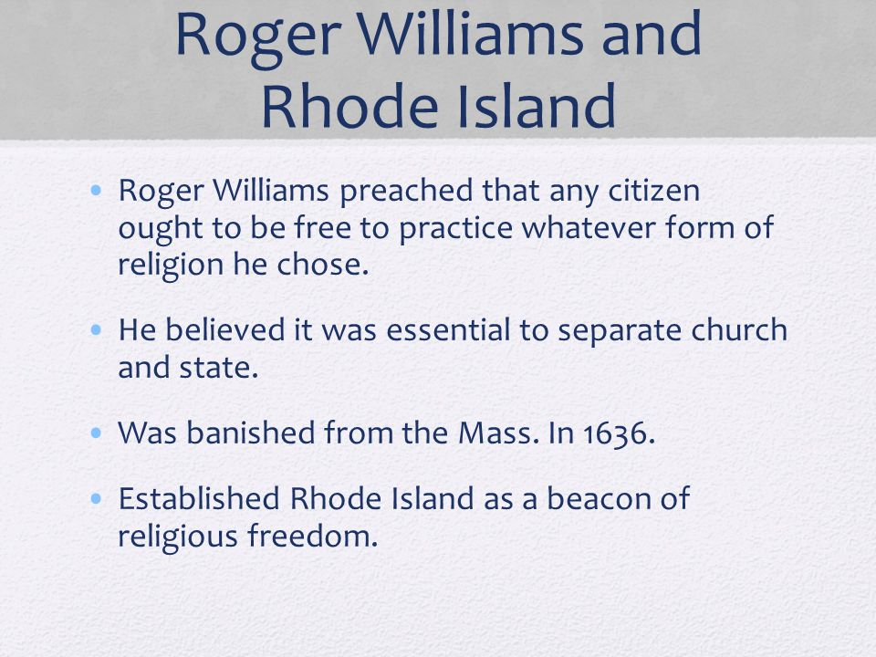 Roger Williams and Rhode Island