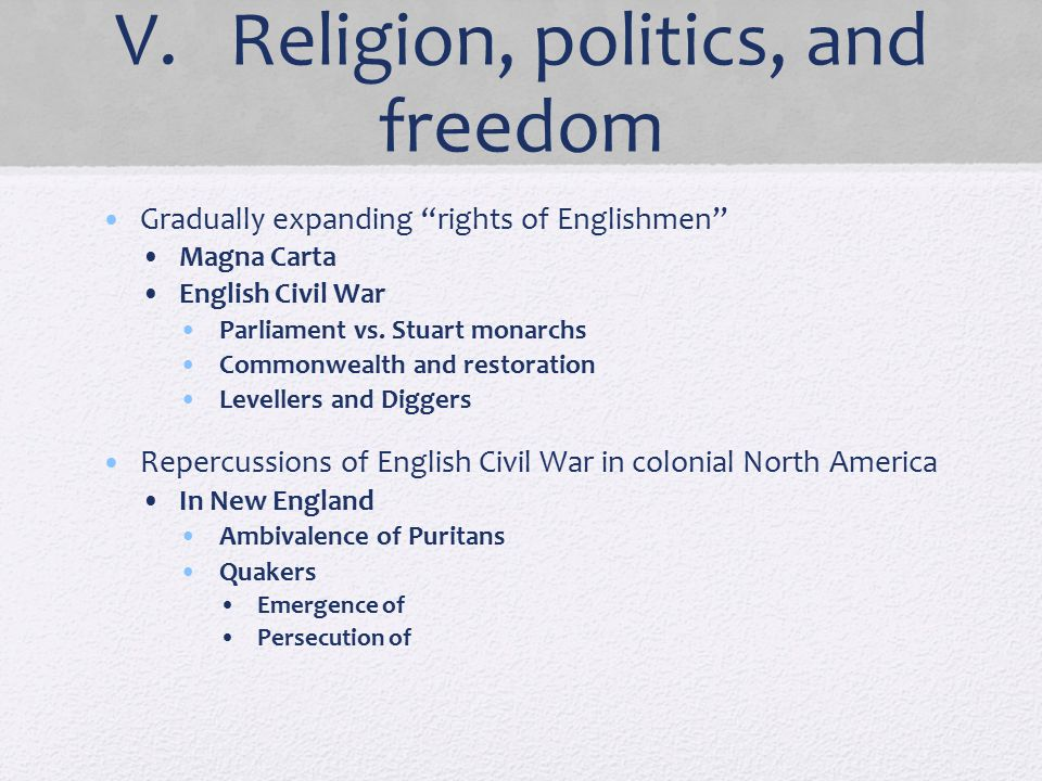 V. Religion, politics, and freedom