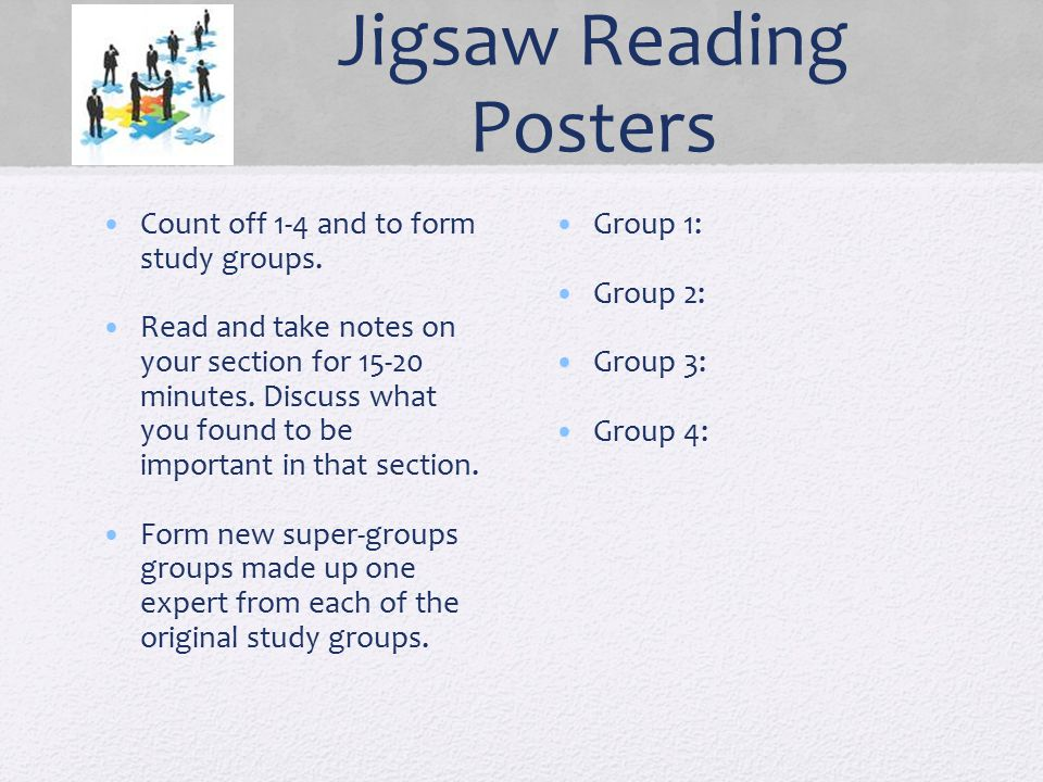 Jigsaw Reading Posters