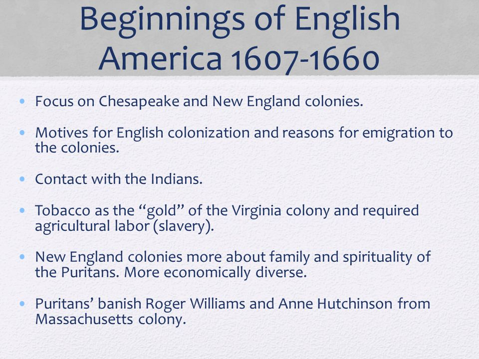 Beginnings of English America 1607-1660