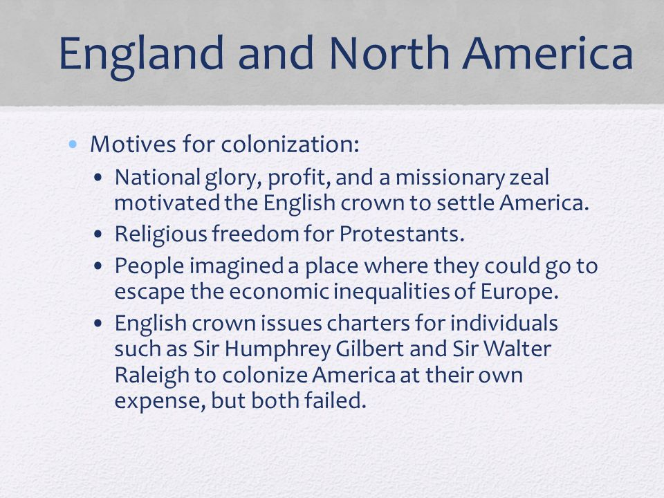 England and North America
